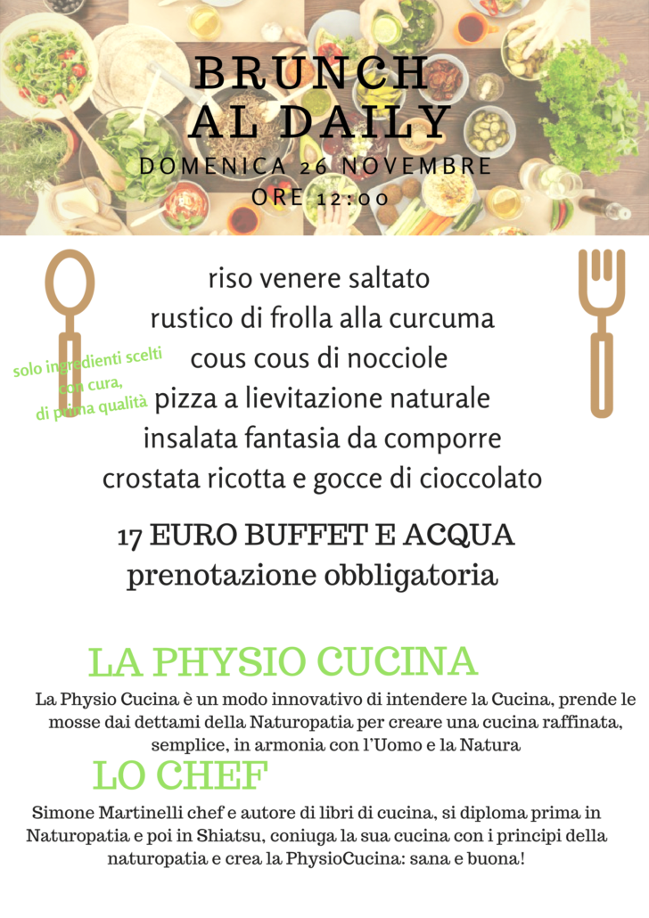 Brunch al Daily Physio Cucina menù